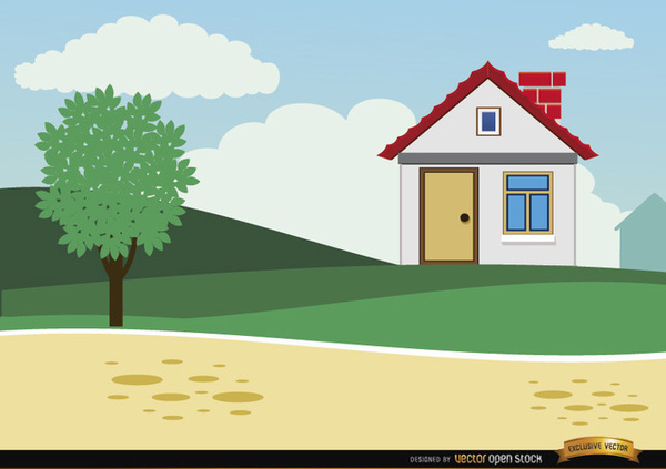 Small Country Cartoon House Background Free Vector.