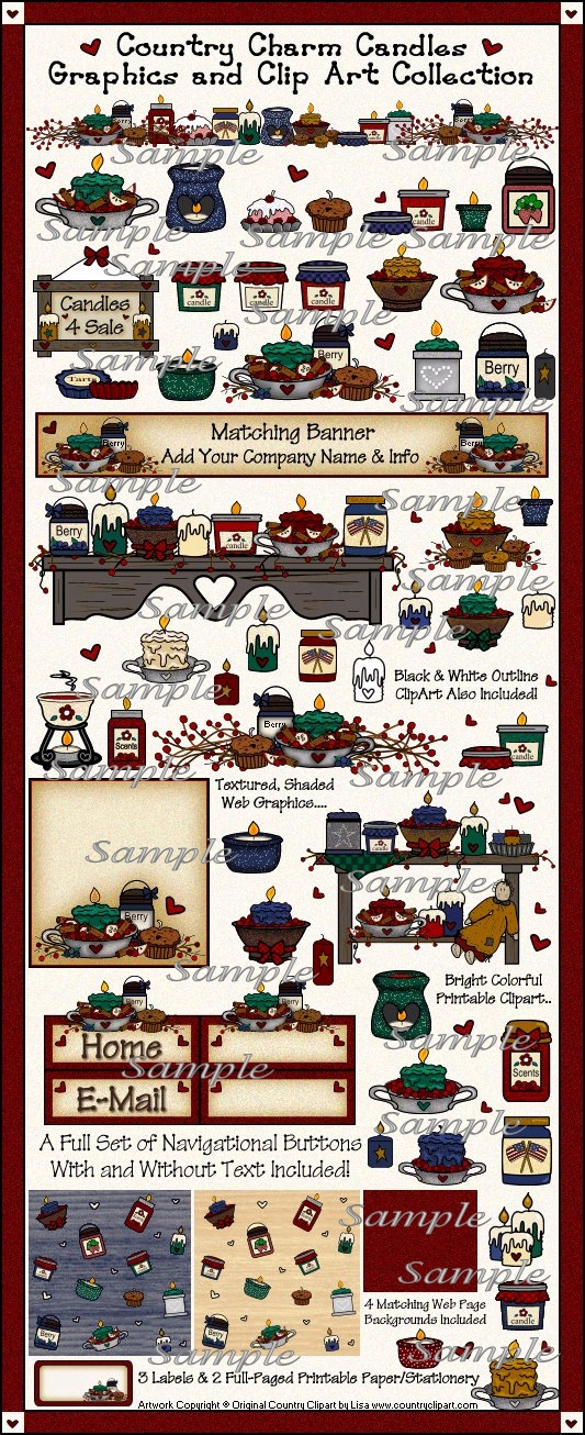Country Candles Graphics and Clipart Collection.
