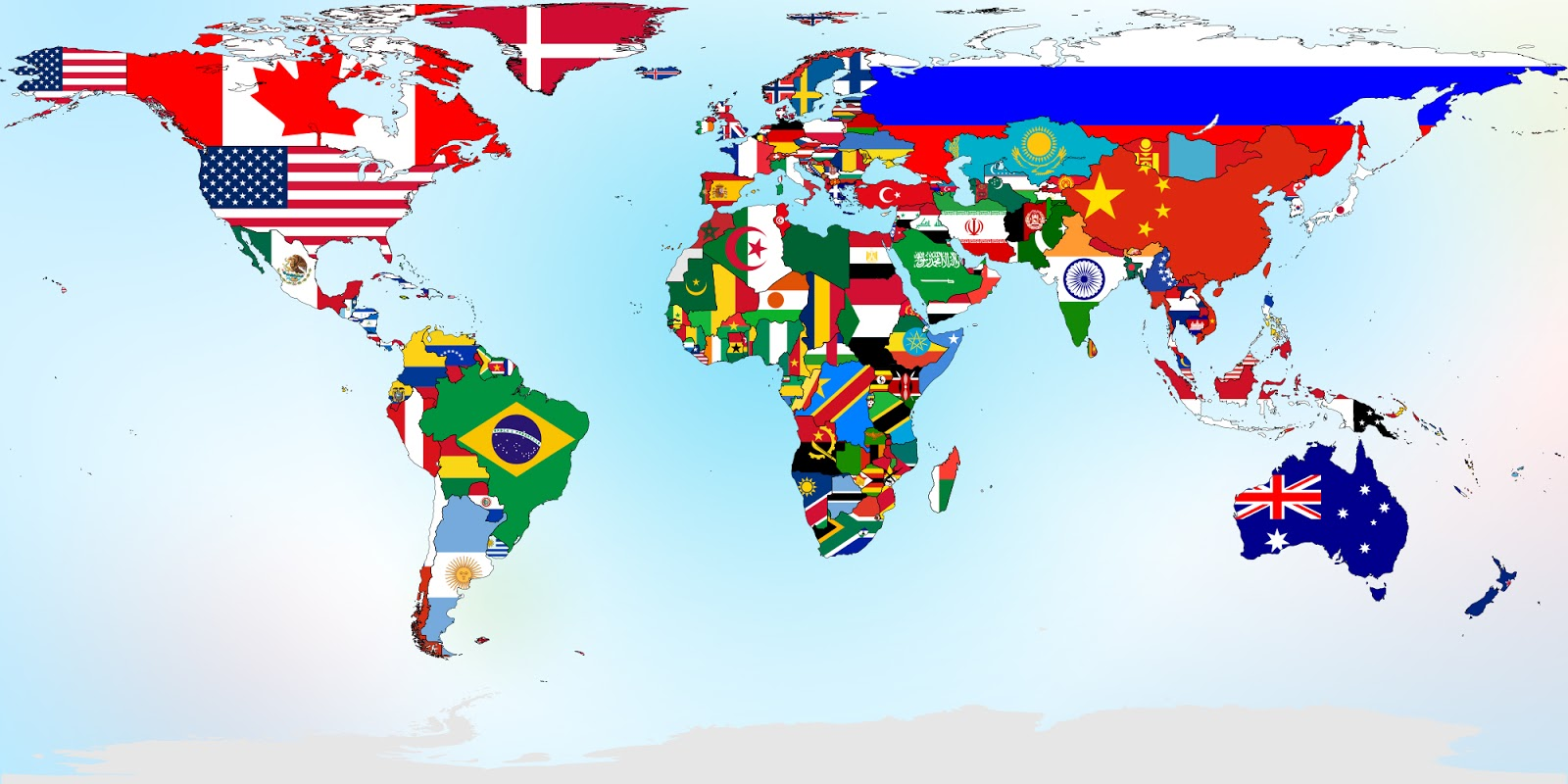 Clipart of small countries on the world map.