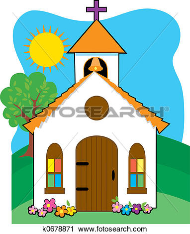Clipart of Small country church k0678871.