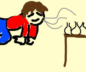 Floating man loves the smell of garlic (drawing by SleepBlob).