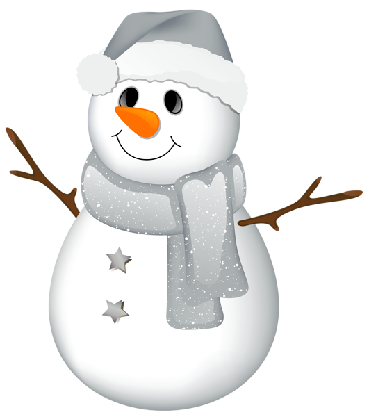 Transparent Snowman with Grey Hat Clipart.