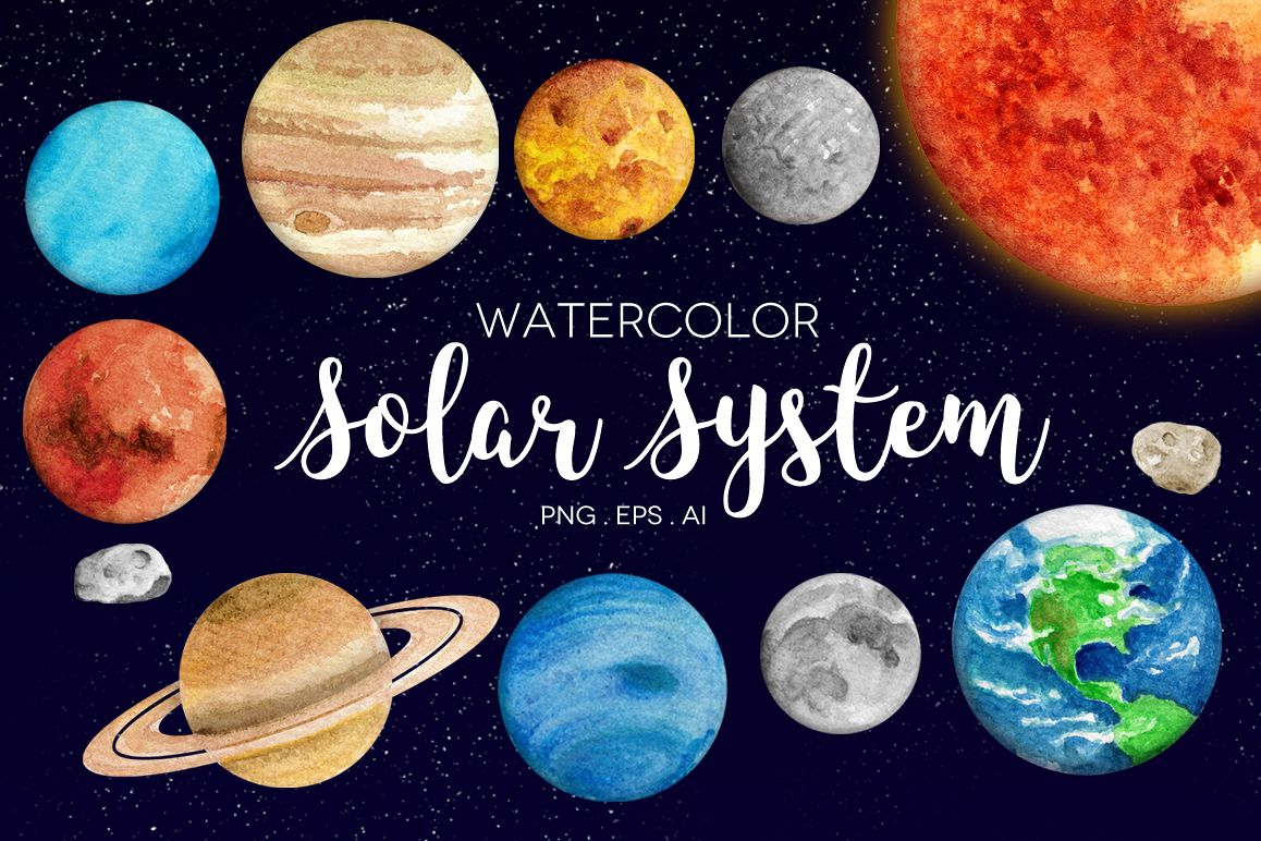 Watercolor Solar System Clipart.