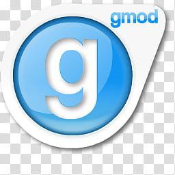 Source Icon Redux, gmod, white and blue Gmod logo.