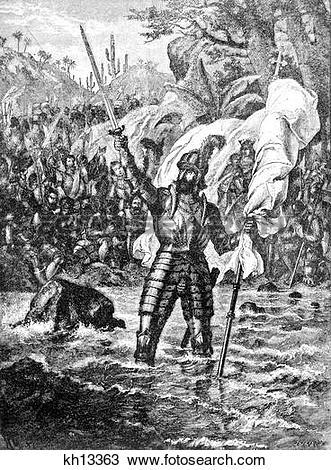 Stock Photo of Vasco Nunez Balboa Claiming Possession The South.