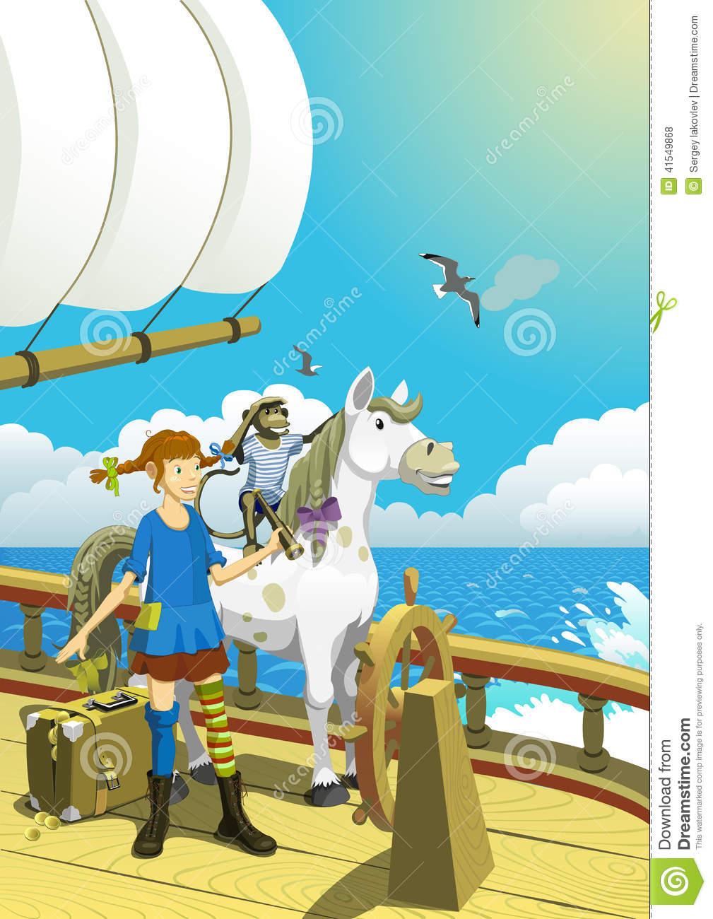 Pippi Longstocking In The South Seas Stock Vector.