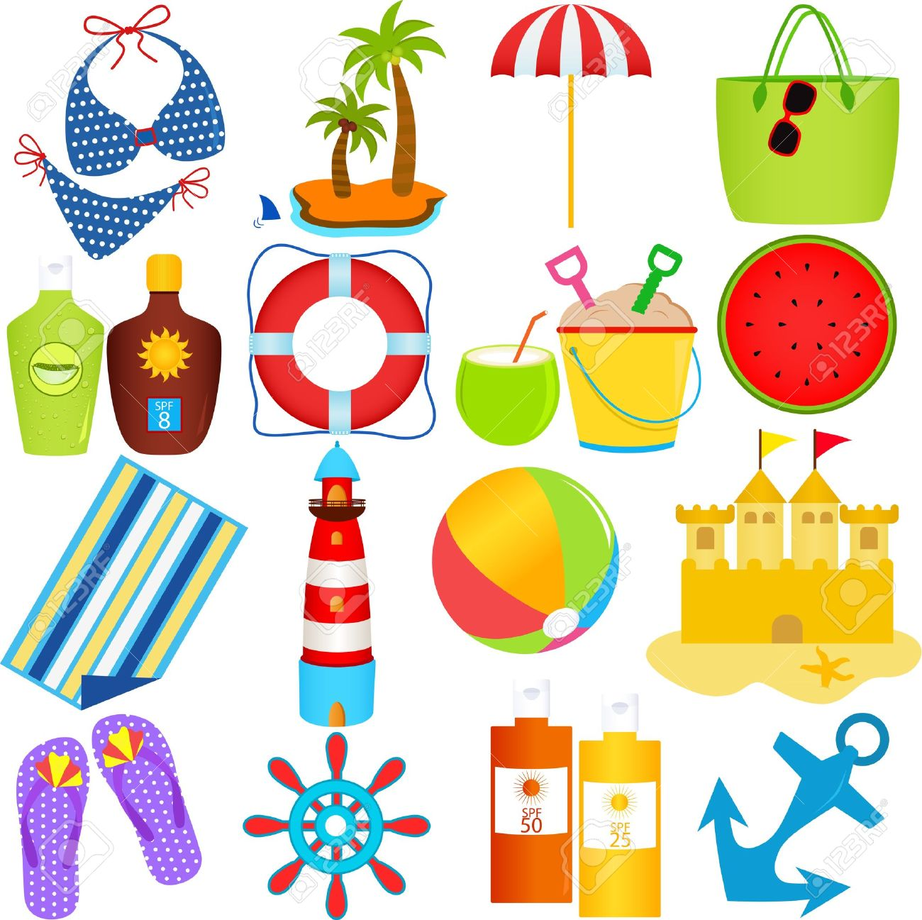 A Colorful Set Of Cute Vector Icons : Beach In The Summer Theme.