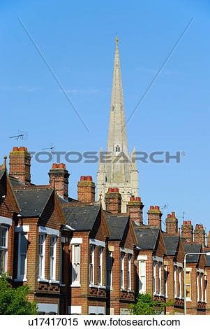 Stock Image of England, Norfolk, Norwich. The spire of Norwich.