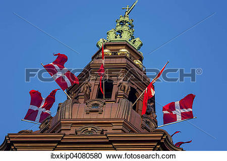 Stock Photography of The spire of Christiansborg Palace, Danish.
