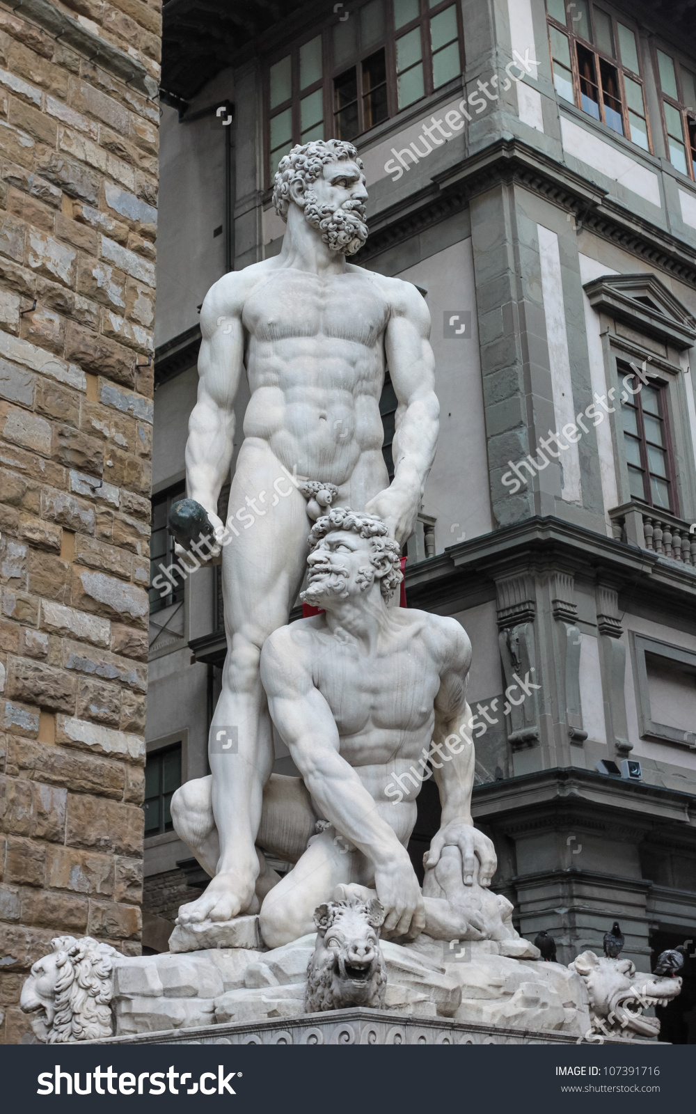 Hercules Cacus Sculpture Piazza Della Signoria Stock Photo.