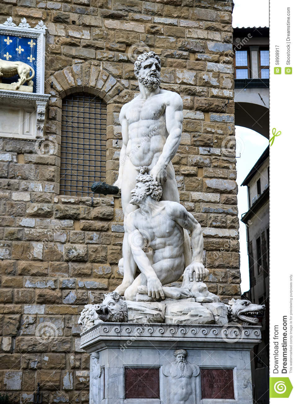 Hercules And Cacus Statue In Florence, Italy Stock Photo.
