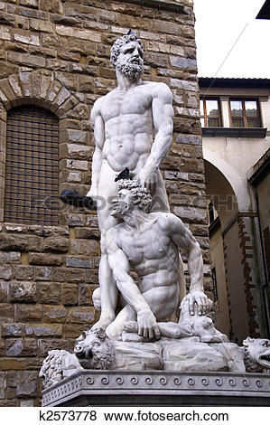 Pictures of Hercules and Cacus statue in front of Palazzo Vecchio.