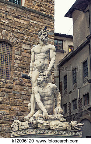 Stock Photography of Famous statue of Hercules and Cacus k12096120.