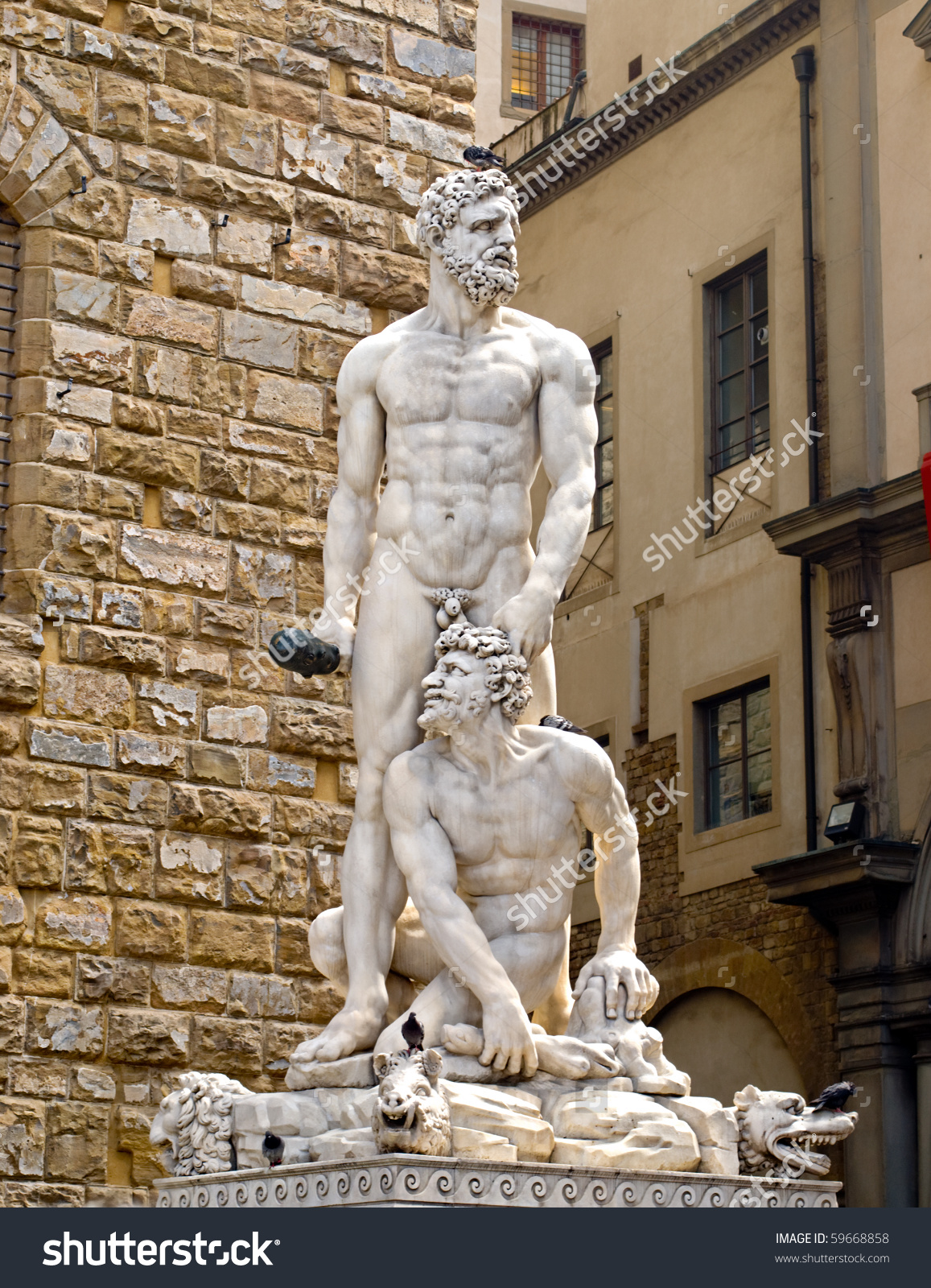 Famous Statue Hercules Cacus Florence Italy Stock Photo 59668858.