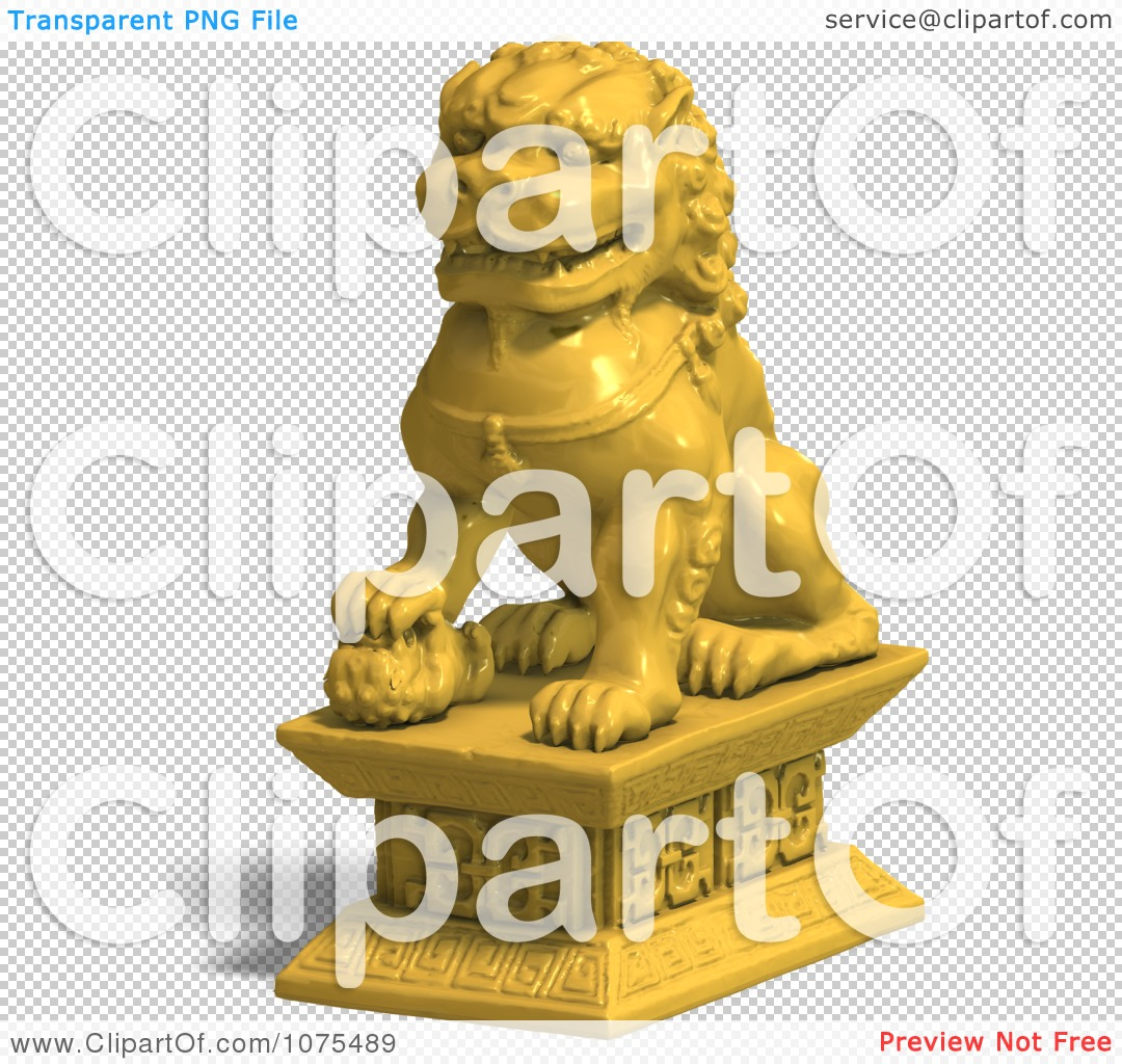Clipart 3d Golden Fu Dog Statue 3.