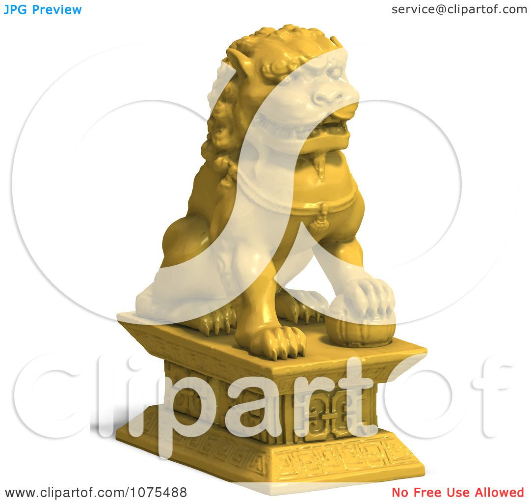 Clipart 3d Golden Fu Dog Statue 2.