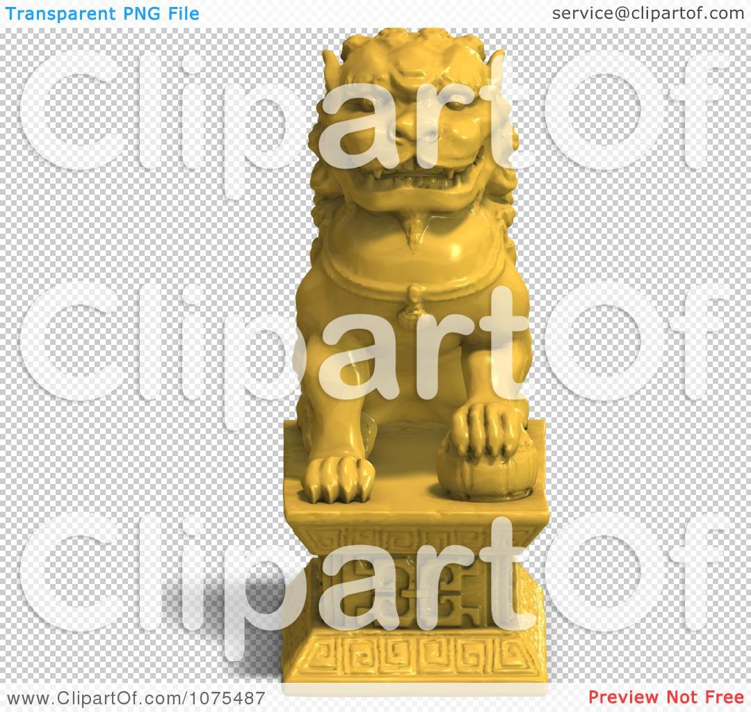 Clipart 3d Golden Fu Dog Statue 1.