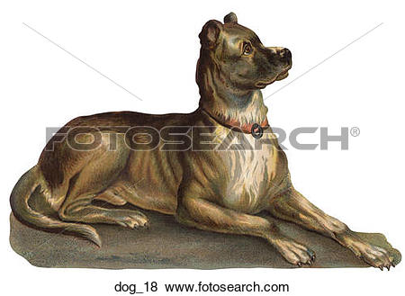 Stock Illustration of Victorian Die Cut Illustration of a Dog.