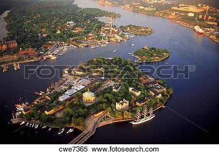 Stock Image of Above Skeppsholmen Island in Saltsjön waters of.