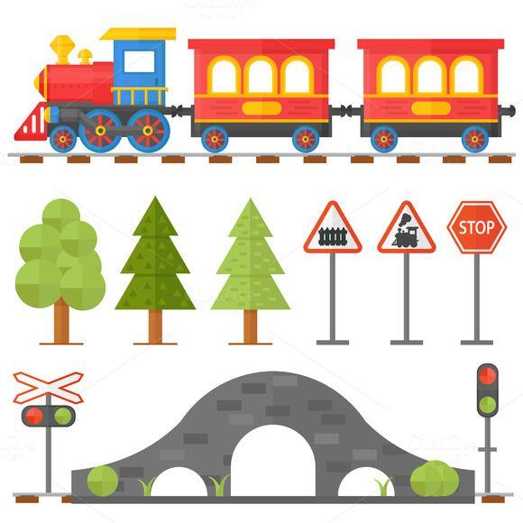 Railroad traffic way vector set by vectorstockstoker on.