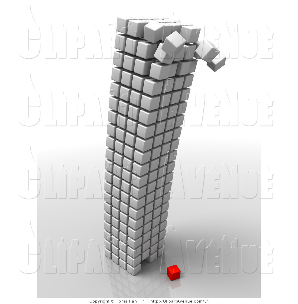 Avenue Clipart of a White Cubic Structure Toppling over on Top of.