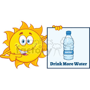 talking sun cartoon mascot character pointing to a sign with text drink  more water vector illustration isolated on white background clipart..