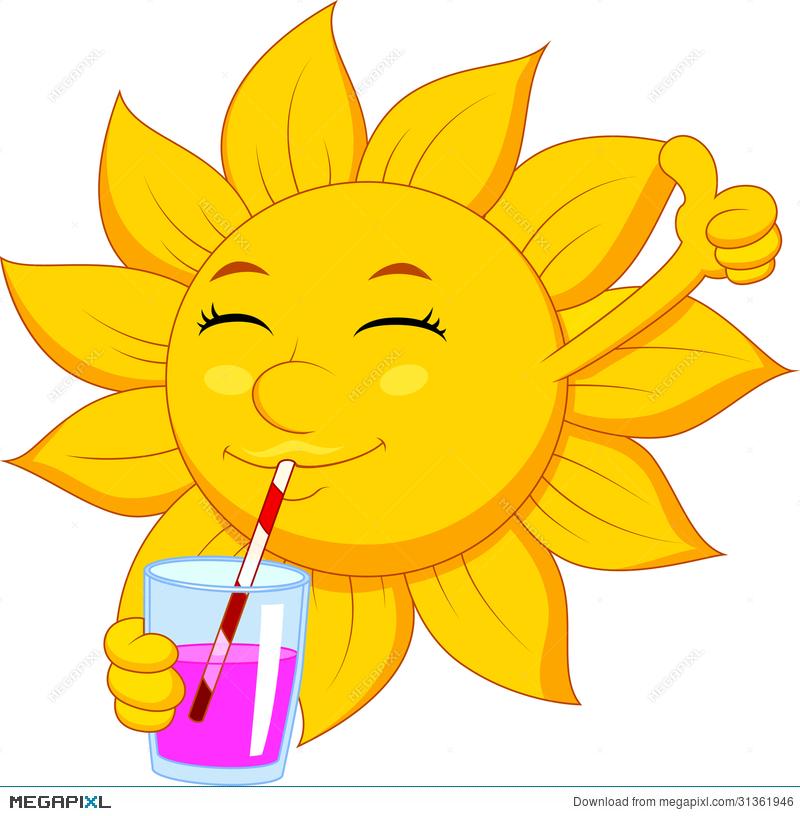 Sun Cartoon Character Drinking Illustration 31361946.