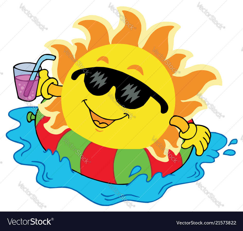 Sun with drink in water.