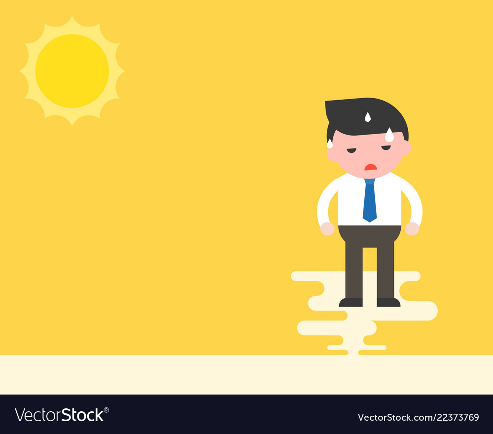 Businessman stand with sweats under the sun hot.