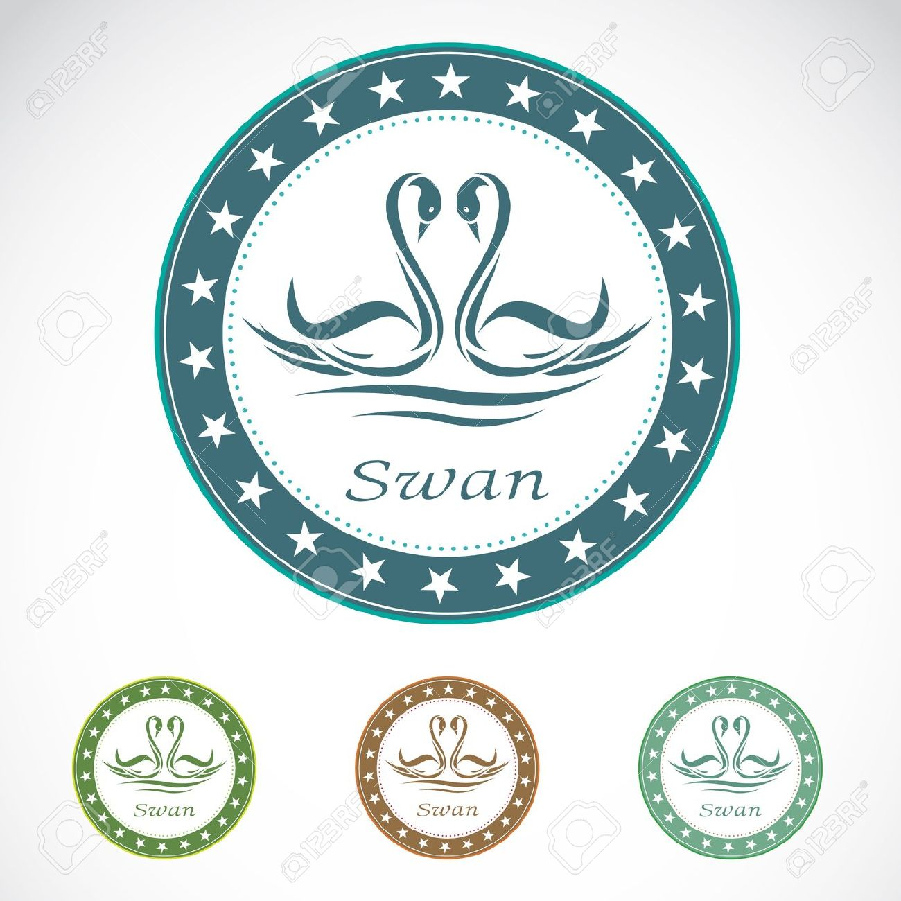 Set Of Vector Swan Label On White Background Royalty Free Cliparts.