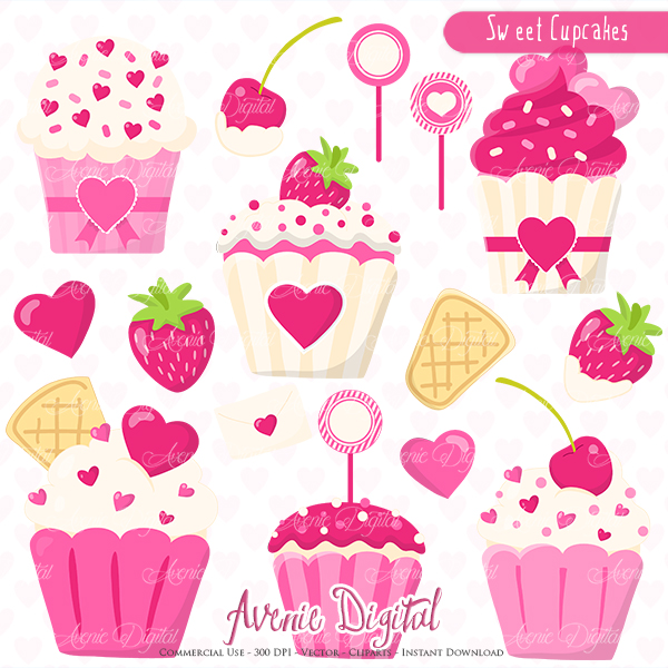 Sweet Valentines Cupcakes Clipart Scrapbook printables, Vector.