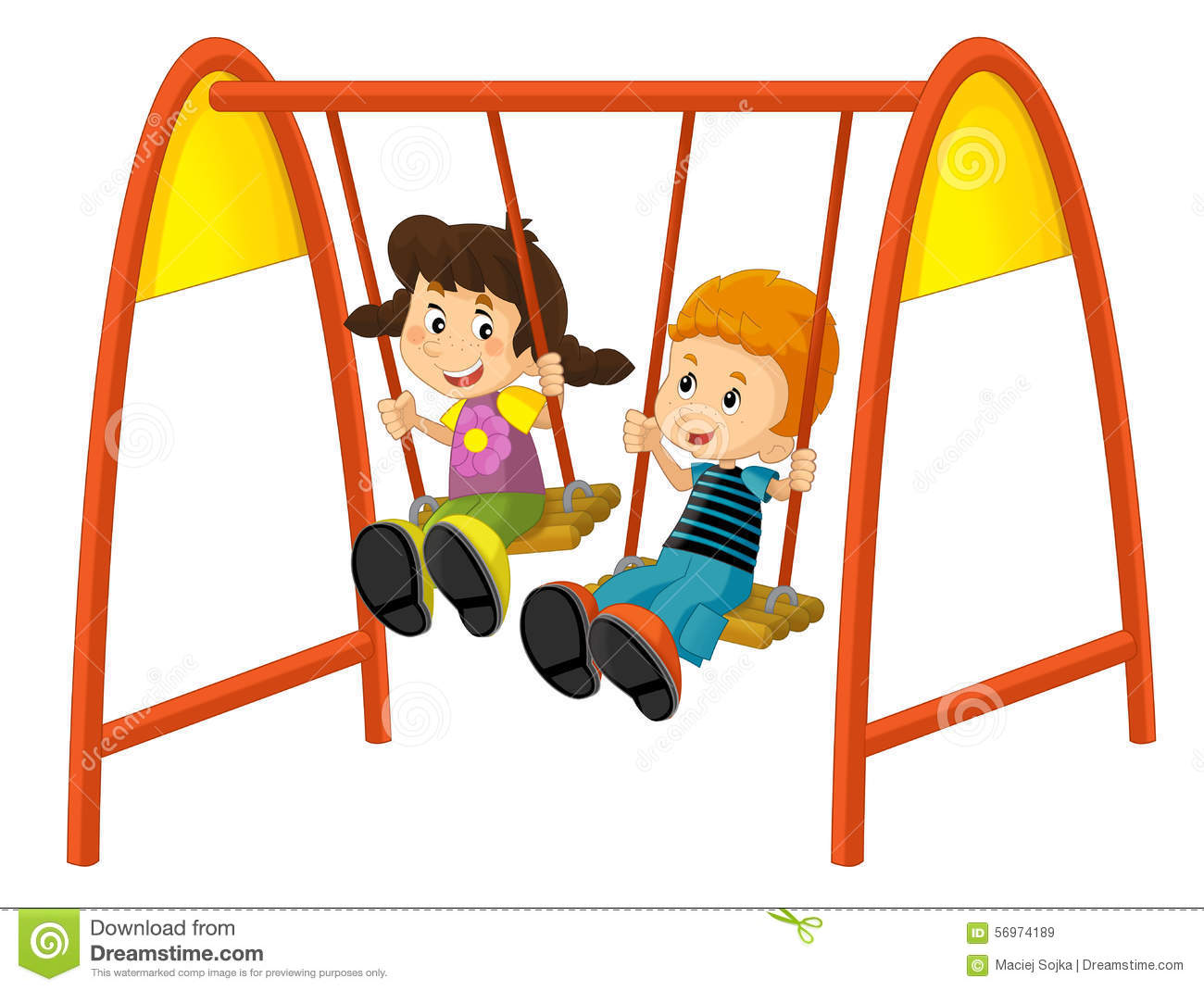 Cartoon Children On The Swing Stock Illustration.