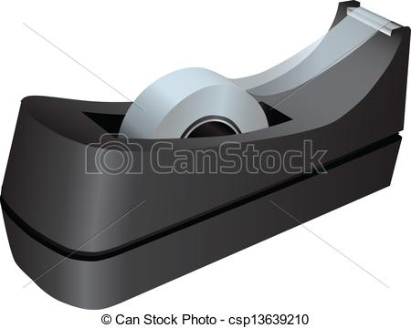 Vector Clip Art of Tape dispenser with adhesive tape. Office.