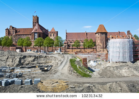 Reconstruction Medieval Teutonic Knights Fortress Malbork Stock.