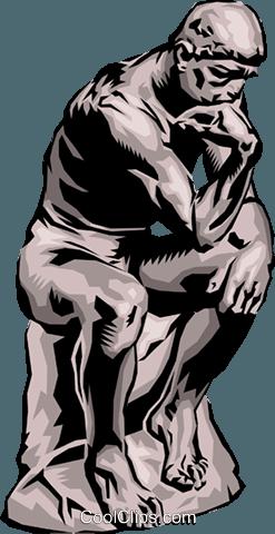 The Thinker Royalty Free Vector Clip Art illustration.
