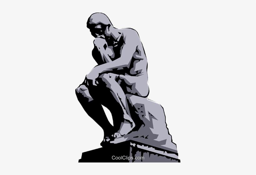 Rodin\'s Thinker Royalty Free Vector Clip Art Illustration.