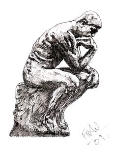 Image result for the thinker statue tattoo.