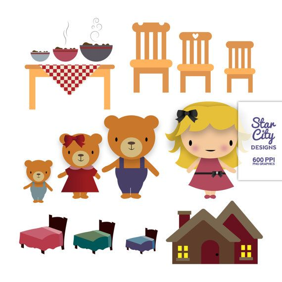 Goldilocks and the three bears Clip Art.