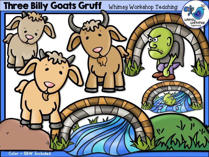 three billy goats gruff clipart.