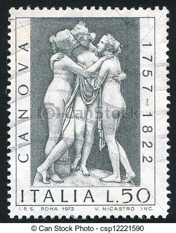 Stock Photographs of three graces by Antonio Canova.