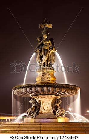 Stock Photography of Fountain of the three graces, Bourse square.