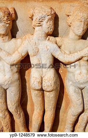 Stock Photograph of Sculpture of the Three Graces at the Roman.