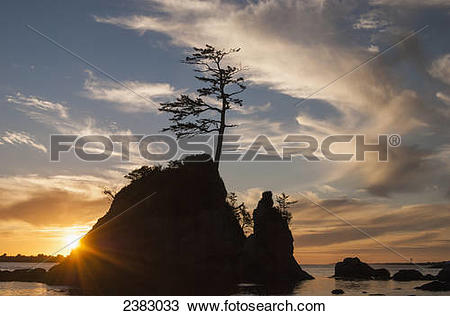 Stock Photo of Sunset over the Three Graces near Garibaldi; Oregon.