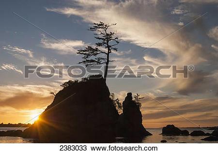 Stock Photo of Sunset over the Three Graces near Garibaldi; Oregon.
