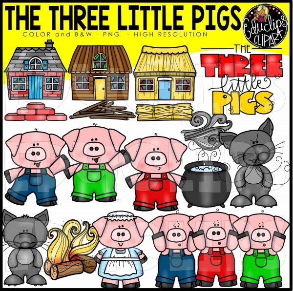 Three Little Pigs Clip Art Bundle (Color and B&W).
