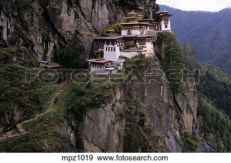 Stock Photograph of Taktshang monastery, also called Tiger Nest.
