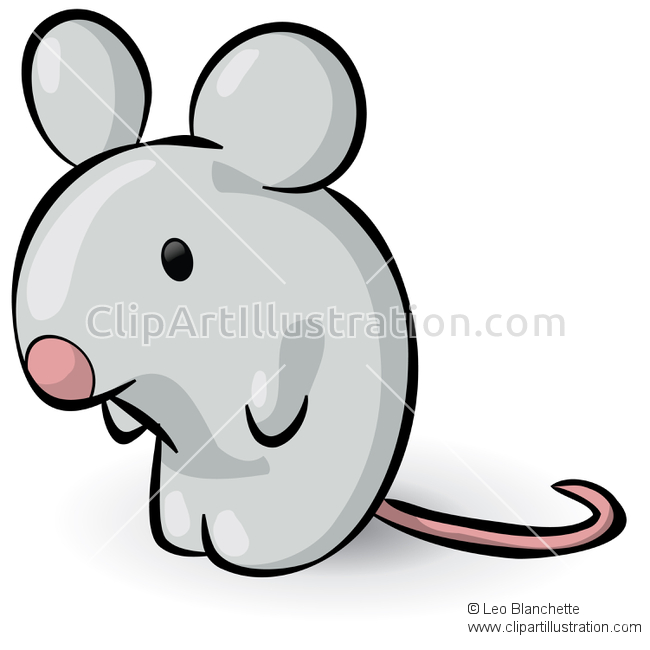 ClipArt Illustration of Cute Tiny Little Gray Mouse.