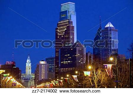 Stock Photo of The Philadelphia skyline, with the towering Comcast.