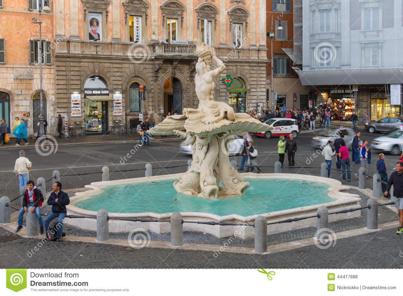 The Triton Fountain In Rome Stock Photo.