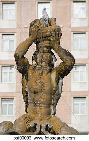 Stock Photo of Italy, Rome, Triton Fountain psf00093.